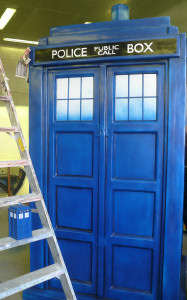 Large Tardis and Small Model under construction at Blackpool Illuminations